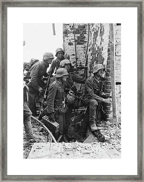 Battle Of Stalingrad  Nazi Infantry Street Fighting 1942 Framed Print