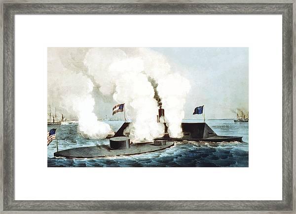 Battle Of The Monitor And Merrimack Framed Print