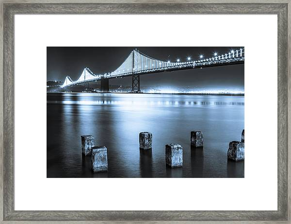 Bay Bridge 1 In Blue Framed Print