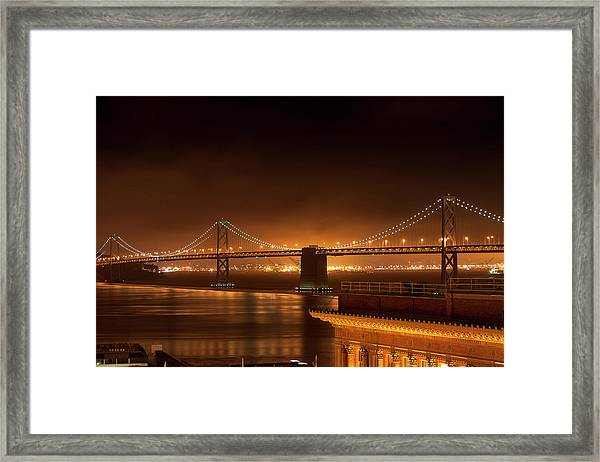 Bay Bridge At Night Framed Print