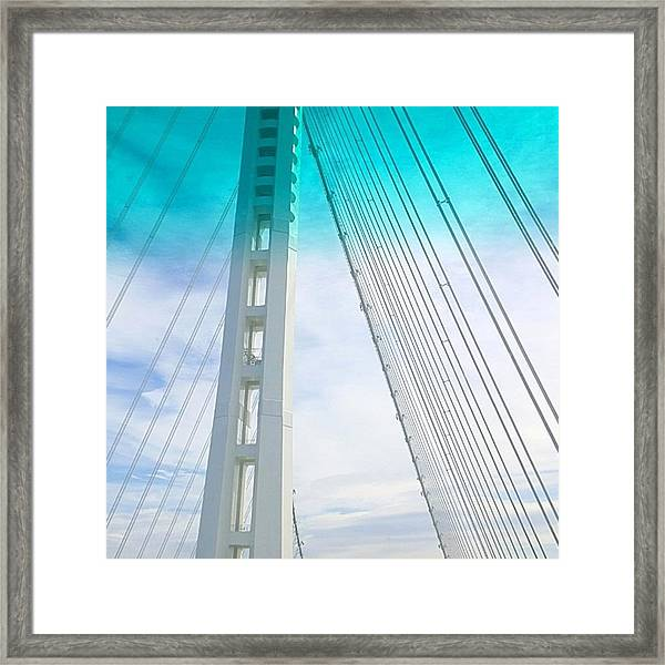 Bay #bridge Section. Love The Aqua Tint Framed Print