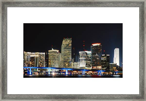 Bay Front Miami Skyline Framed Print