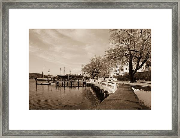 Bay Street In Winter - Mystic Ct Framed Print