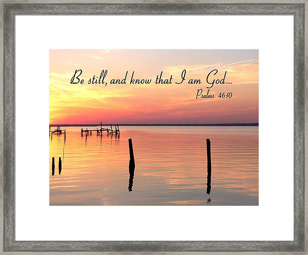 Bay Sunset Psalms Framed Print
