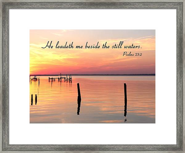 Bay Sunset Still Waters Psalm Framed Print