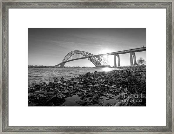 Bayonne Bridge Black And White Framed Print
