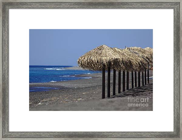 Framed Print featuring the photograph Beach At Perivolos by Jeremy Hayden