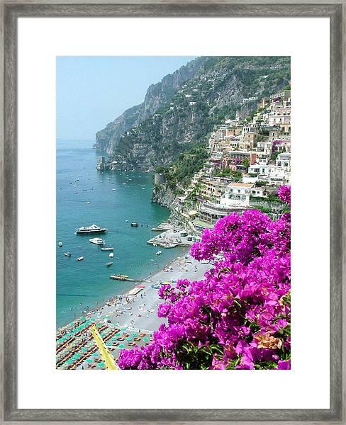 Beach At Positano Framed Print