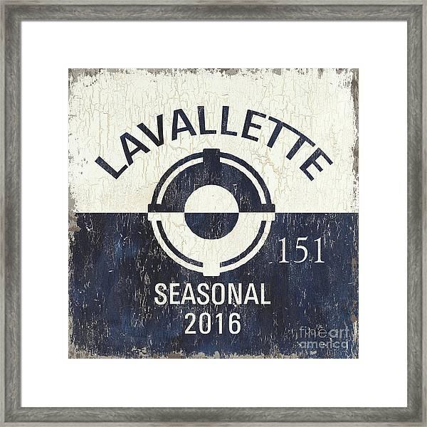 Beach Badge Lavalette Framed Print