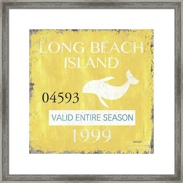 Beach Badge Long Beach Island 2 Framed Print