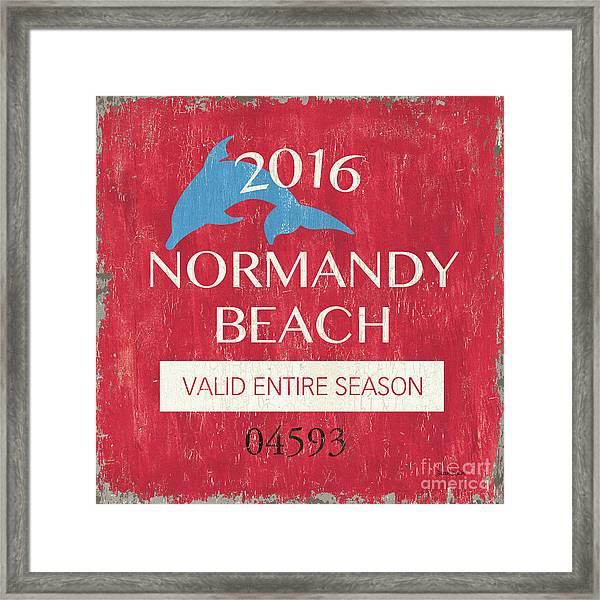 Beach Badge Normandy Beach Framed Print