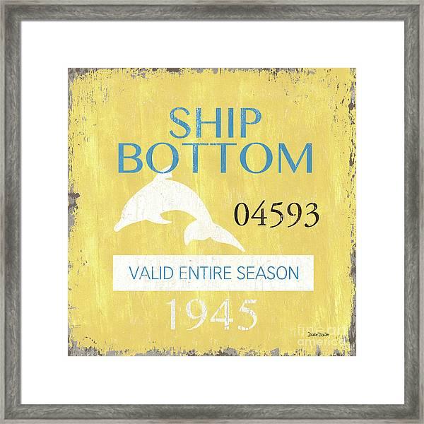 Beach Badge Ship Bottom Framed Print