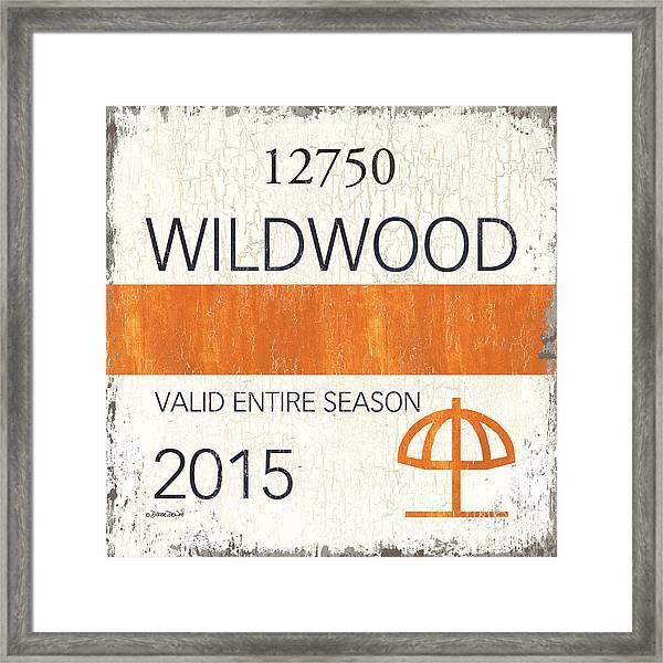 Beach Badge Wildwood Framed Print