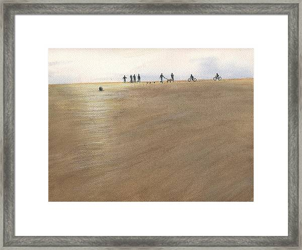 Beach Bocce Bikes Framed Print