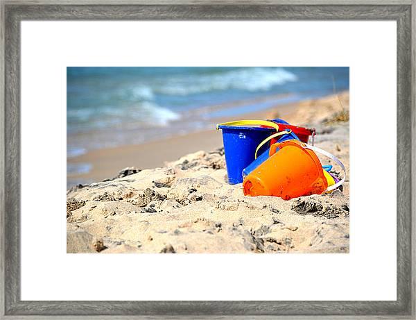 Beach Buckets Framed Print