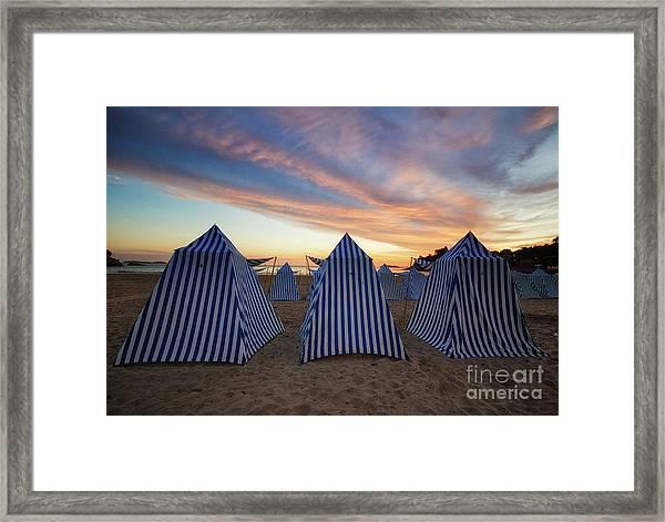 Beach Cabins Framed Print