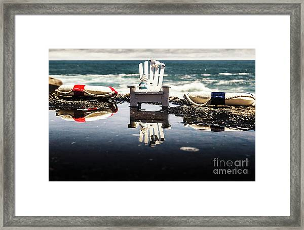 Beach Chairs And Rock Pools Framed Print