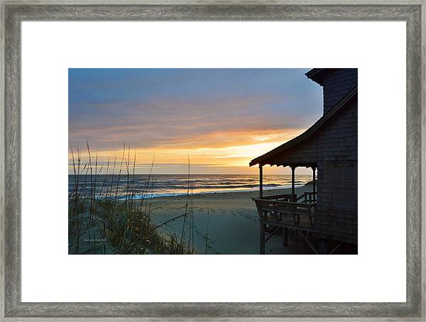 Beach Cottage Sunrise  Framed Print