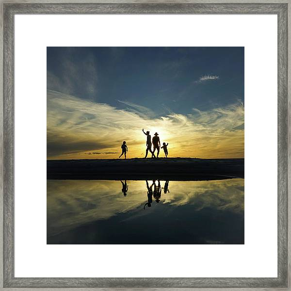 Beach Dancing At Sunset Framed Print