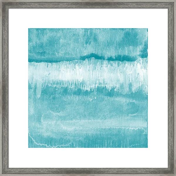 Beach Day Blue- Art By Linda Woods Framed Print