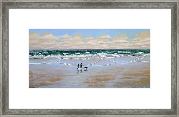 Beach Dog Walk Framed Print
