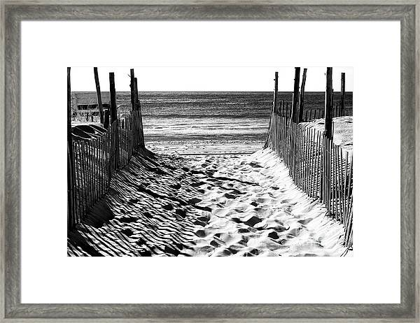 Beach Entry Black And White Long Beach Island Framed Print