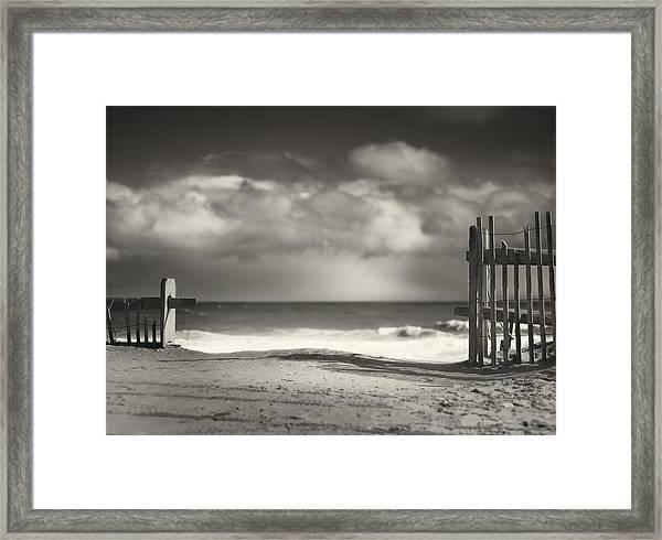 Beach Fence - Wellfleet Cape Cod Framed Print