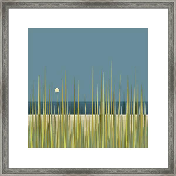 Beach Grass And Blue Sky Framed Print