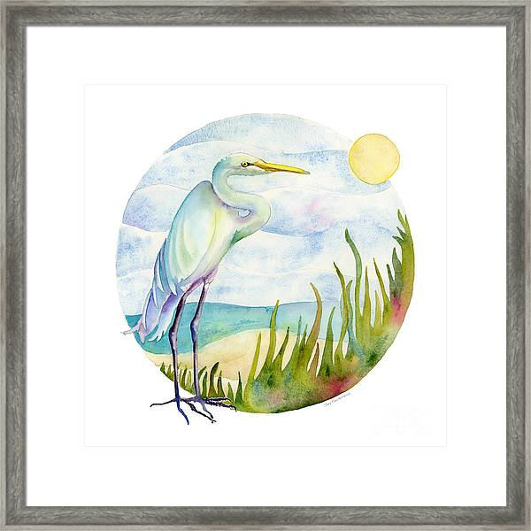 Beach Heron Framed Print
