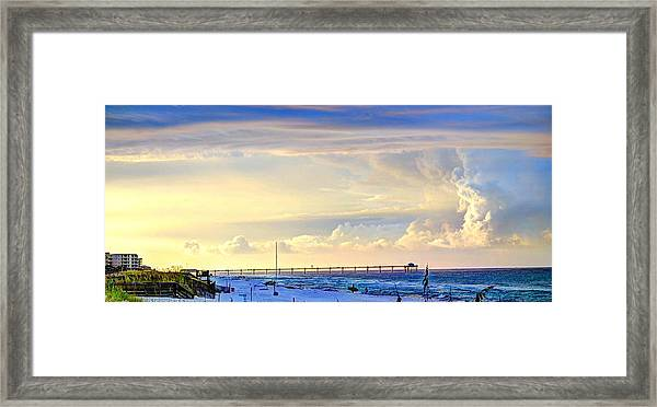 Beach House Window Framed Print