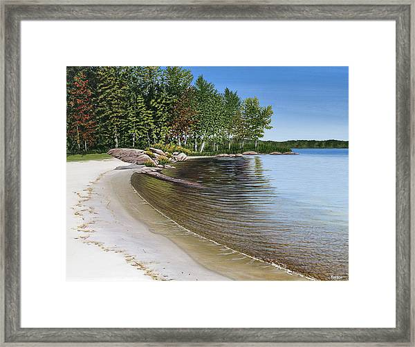 Beach In Muskoka Framed Print