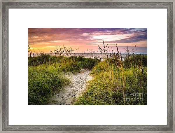 Beach Path Sunrise Framed Print