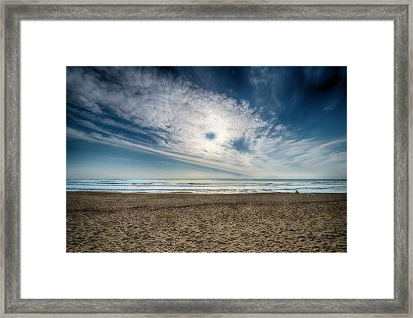 Beach Sand With Clouds - Spiagggia Di Sabbia Con Nuvole Framed Print