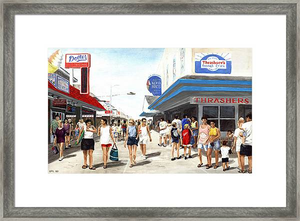 Framed Print featuring the painting Beach/shore I Boardwalk Ocean City Md - Original Fine Art Painting by G Linsenmayer