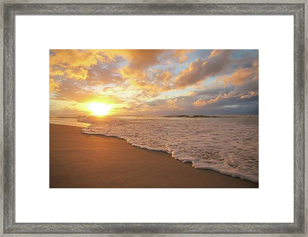 Beach Sunset With Golden Clouds Framed Print