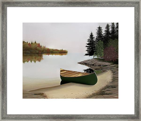 Beached Canoe In Muskoka Framed Print