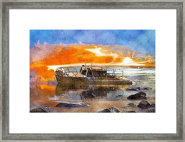 Beached Wreck Framed Print