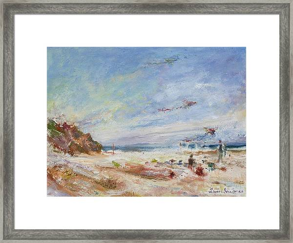 Beachy Day - Impressionist Painting - Original Contemporary Framed Print