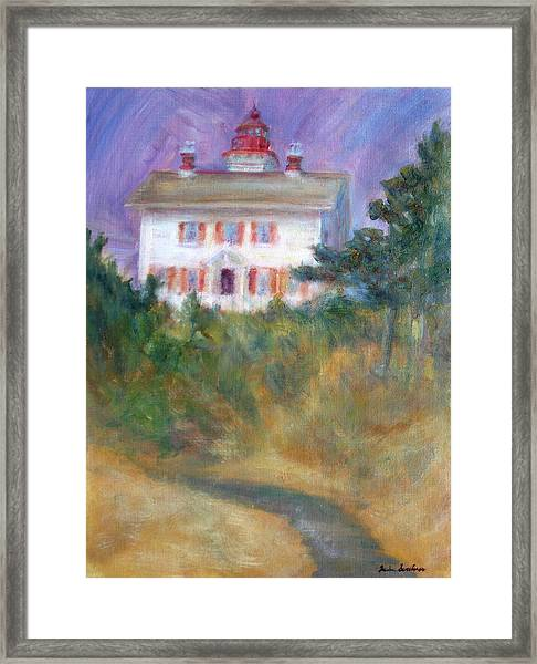 Beacon On The Hill - Lighthouse Painting Framed Print