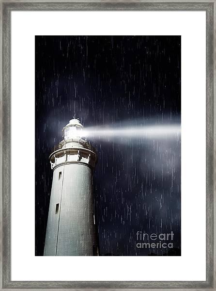 Beaming Lighthouse Framed Print