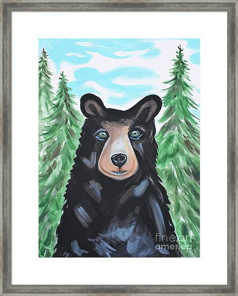 Bear In The Woods Framed Print