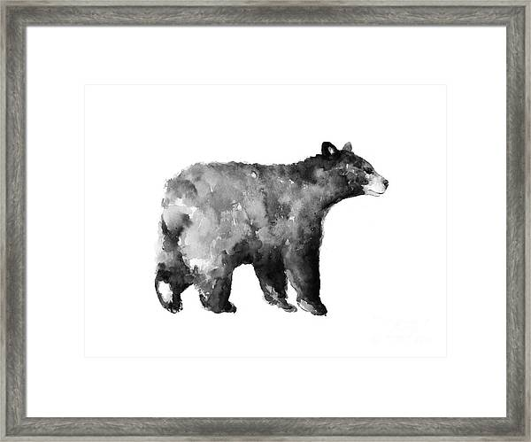 Bear Watercolor Drawing Poster Framed Print