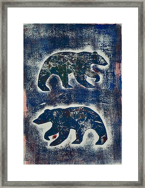 Bears In Blue  Framed Print