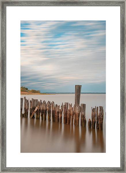 Beautiful Aging Pilings In Keyport Framed Print