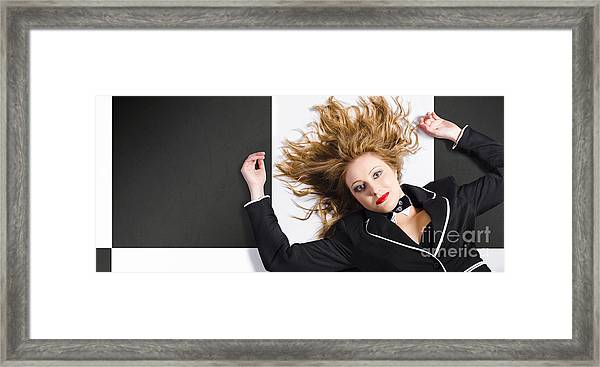 Beautiful Blond Girl With Healthy Long Hair Framed Print