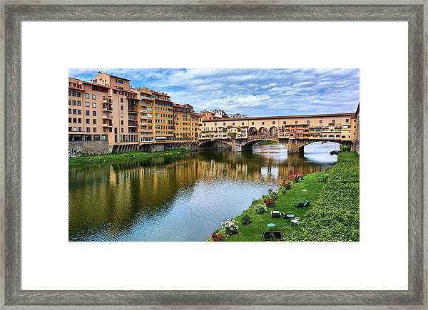Ponte Vecchio On A Spring Day In Florence, Italy Framed Print