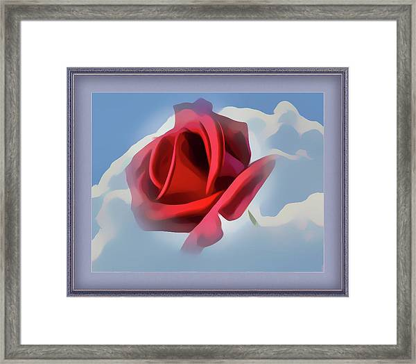 Beautiful Red Rose Cuddled By Cumulus Framed Print