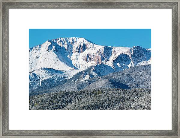 Beautiful Spring Snow On Pikes Peak Colorado Framed Print