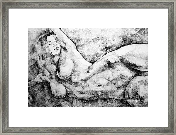 Beautiful Young Girl Pencil Art Drawing Framed Print
