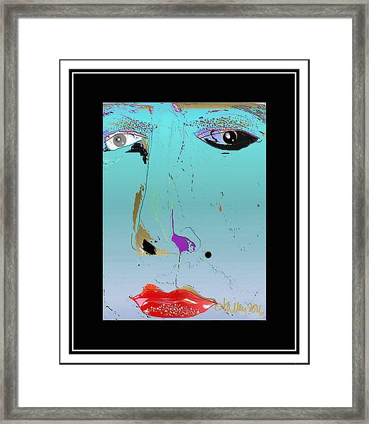 Framed Print featuring the digital art Beauty Mark - Blue by Larry Talley